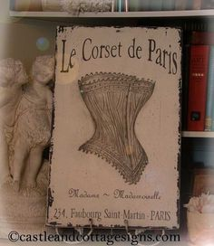 Le Corset de Paris Vintage handpainted sign door castleandcottage