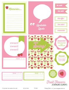 Fruit Flavors Journaling Cards & Elements - Free Printable Download - Vintage Glam Studio