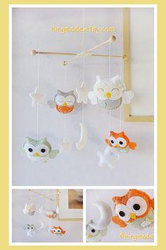 Owl Mobile  Baby Mobile  Nursery Decor  Baby Room by hingmade, $85.00