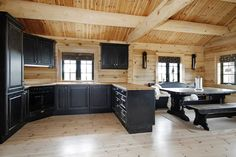 Dream Log Home: Kitchen / Dining Area...yes, please! #LogHomeInteriors