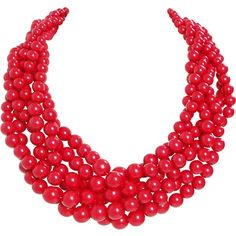 Humble Chic NY Twisted Bauble Necklace ($38) ❤ liked on Polyvore featuring jewelry, necklaces, red, layered necklace, bib collar necklace, pearl statement necklace, beaded bib necklace and pearl bib necklace