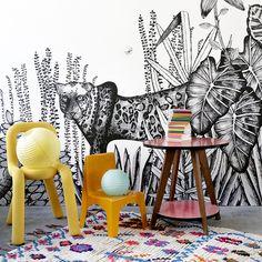 """papier-peint """"The Wild"""" dessiné par Cécile Figuette"""