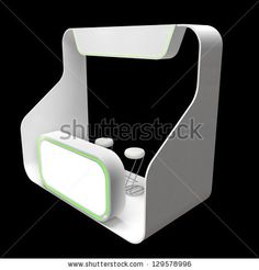modern exhibition booth with blank frieze and counter by whitehoune, via ShutterStock