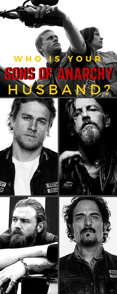 This is fun... Which Sons of Anarchy bad boy would be your old man? Take the quiz and find out here: http://www.soafanatic.com/2015/09/whos-your-sons-of-anarchy-husband-take-the-quiz/?ref=pinterest-husbandquiz
