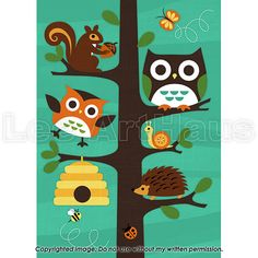 158B Bright Forest Animals in Tree 5x7 Print by leearthaus on Etsy