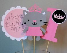 Princess Kitty Centerpiece Sticks. Customizable with name. Click pin for more package options and color choices. Check out this item in my Etsy shop https://www.etsy.com/ca/listing/269217193/princess-kitty-centerpieces-princess