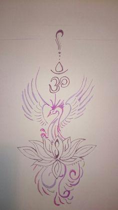 Phönix Tattoo mit Om