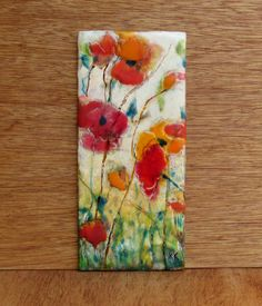 Encaustic Art- Original Encaustic Painting - PRIORITY SHIPPING - Poppy Painting - Abstract Poppies - Beeswax Art - KLynnsArt