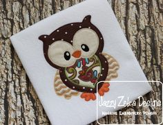 Owl 15 Applique with Square Diagonal Stitching