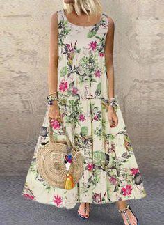 Summer Dress Women Plus Size Bohe O-Neck Floral Print Vintage Sleeveless Long Maxi Dress New Casual Ankle-Length Dress Vintage Style Dresses, Casual Dresses, Maxi Dresses, Sleeveless Dresses, Floral Dresses, Floral Maxi, Robes Midi, Vestidos Vintage, Chiffon Maxi