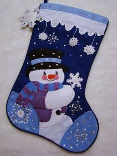 """The Games Factory 2 This wonderful hand~crafted Christmas Stocking called """"LET IT SNOW"""" is made of felt applique on cloth (NOT FELT) and beautifully decora Felt Christmas Stockings, Felt Stocking, Stocking Tree, Felt Christmas Ornaments, Noel Christmas, Christmas Costumes, Christmas Sewing, Christmas Projects, Holiday Crafts"""