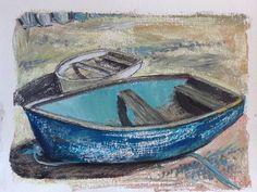 Boats on the beach in Rhos-on-Sea. Acrylic, pastel & ink painting by Mari Gwenllian Lloyd.