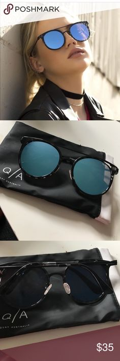 QUAY Blue Mirror Round Sunnies. Never Worn. Clear and Black Tortoise Frames, beautiful reflecting blue lenses. I just received these and I just don't like the round shape on my face. Perfect condition, comes with the soft case. Quay Australia Accessories Sunglasses