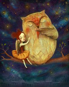 Hibou étoile d'impression 11 X 14--artistique pour les enfants, pour enfants affiche, poster hibou, starlight, boisé art animalier - par Lisa Falzon