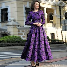 Cheap plus size maxi dress, Buy Quality maxi dress directly from China maxi dresses long Suppliers: 2016 M-3XL Fall Winter Vintage Flowers Women Plus Size Maxi Dress Long Sleeve O neck Pleated Dresses High Quality Purple