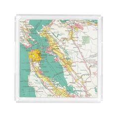 San Francisco Map Travel Theme Destination Unique Serving Trays For Reception Wedding Decoration  #wedding #sanfrancisco