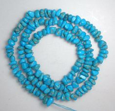 "Sleeping Beauty Turquoise Pebble Beads Loose Craft Jewelry Blue 18"" Std Lot 9A #SleepingBeauty #Southwest"