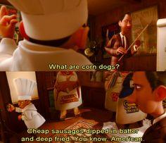 i always want to gag when i eat a corn dog - even more so nowwwww Disney Now, Cute Disney, Disney Pixar, Walt Disney, Disney Movie Scenes, Disney Movies To Watch, Disney Fanatic, Disney Addict, Disney Quotes