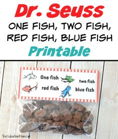 Celebrate Dr. Seuss a snack of Goldfish topped with this free printable Dr. Seuss Treat Bag Topper. Happy Birthday Dr. Seuss.