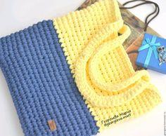сумка шоппер, сумка для покупок, сумка на пляж, сумка на море, сумка для отдыха, сумка на прогулку, сумка, сумочка, сумка авоська, вязаная сумка, желтый, лимонный, нежно желтый, синий, голубой