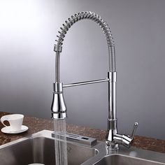 Solid Brass Contemporary Chrome Finish Single Handle Pull Out Kitchen Faucet At FaucetsDeal.com