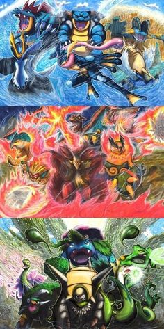 The Wrath of the Water Legion, The Kingdom of Fire, and the Natural Power of Grass- I'm sure that they are all made of the final evolutions of starter Pokemon Pokemon Fan Art, Pokemon Go, Pokemon Pins, Pokemon Funny, Pikachu, Pokemon Stuff, Pokemon Comics, Charmander, Pokemon Fusion