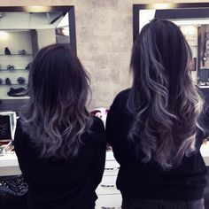 Silver grey white ombre hair short and long version like it style