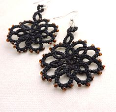 Elegant and colourful lace earrings, hand-crafted in Waterford, Ireland. These beautiful Flower earrings feature a delicate and eye catching design Lace Jewelry, Jewellery, Unique Jewelry, Flower Earrings, Crochet Earrings, Lace Flowers, Mocha, Silver Plate, Glass Beads
