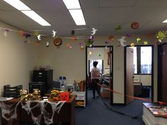 Decorating the Islandlawyers office for Halloween. Wonder if we're going to have a lot of trick-or-treaters in the Pan Am Building. Halloween Office, Decorating, Lighting, Building, Home Decor, Decor, Decoration, Decoration Home, Room Decor