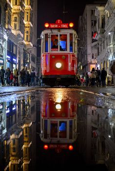 ○ 'Red' by clentuls on 500px. Tram in Beyoğlu, Istanbul, Turkey. #reflection