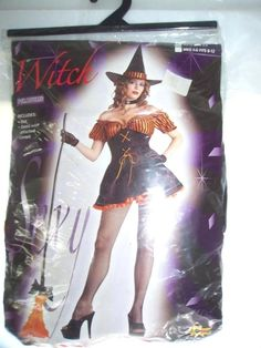 New Adult Sexy Witch Halloween Costume Sz Med/Lg 8 - 12 Black and Orange #CompleteCostume