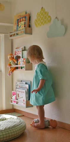 Book storage with spice racks - so cute!
