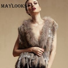 New new women genuine natural real rabbit vests coats Rex rabbit fur with raccoon fur collar winter waistcoat/jackets HN84 *** AliExpress Affiliate's buyable pin. Locate the offer on www.aliexpress.com simply by clicking the VISIT button