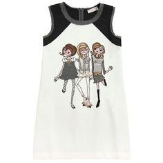 Monnalisa - Sleeveless ivory and dark grey milano jersey dress - 44429