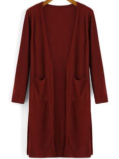 Red Long Sleeve Pockets Knit Cardigan 15.45