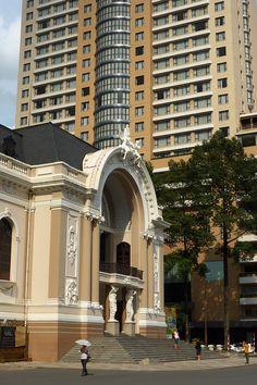 Saigon landmarks,Opera House (Nha hat lon thanh pho) & Caravelle Hotel,  Ho Chi Minh, Vietnam  Copyright: Eric Nguyen