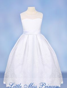 Caleigh Communion Dress 1113061 by Little Miss Princess - White Dresses for Girls