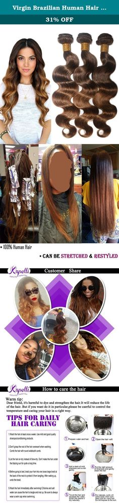 """Virgin Brazilian Human Hair Body Wave Remy Hair Extensions Weft Weave 3 Bundles/lot, 300g Total (100g Each) #T4/30 Medium Brown/Medium Auburn (12"""" 14"""" 16""""). All of Kapelli Hair is 100% human virgin hair. The hair is cut from the donor in one heavy ponytail, with the cuticle layers intact and all facing in the same direction so that the hair will not tangle. Every weft is with double layer for reinforced & minimum shedding. Hair Extension Type: Brazilian Body Wave Hair Quality: No Chemical…"""