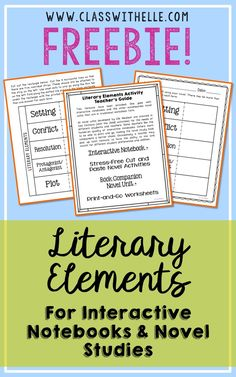This Literary Elements FREEBIE includes two formats. One goes with interactive notebooks and the other accompanies novel units that are in traditional worksheet form. The interactive notebook activity and book companion page will give you a good look at how I set up all of my novel studies. These pages fit seamlessly into any of the book resources offered in my store.