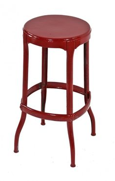1940 s American industrial red enameled pressed and folded steel four legged diminutive multi · Industrial StoolVintage