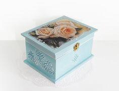Big Shabby Chic Jewelry Box Wedding Card Holder Wish Box Trinket Sewing Box with decoupage