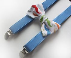 Baby/Toddler/Boys Blue Suspenders and Mustache Bow Tie