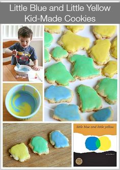 Cooking with Kids: Make tiny sugar cookies that look like the characters in Leo Lionni's popular children's book, Little Blue and Little Yellow. Explore color mixing too! Perfect for cooking in the classroom or with toddlers and preschoolers at home. (Inc
