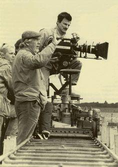 Andrei Tarkovsky and Sven Nykvist while filming The Sacrifice (1986)