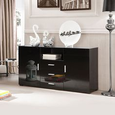 High Gloss Sideboard With 2 Doors 3 Drawer Black Modern Living Room Furniture