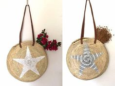 Straw Round Shoulder Bag Boho Bag Round Bag with leather