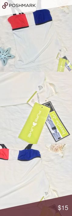 Pure Lime Tank Top M workout build in bra Pure Lime women Tank Top M Medium workout with build in bra red blue white NWT    Brand:   Pure Lime  Size: M Color:  white blue red Condition: NWT bit red color is fading to white in one place   Stock number: B12 pure lime Tops Camisoles