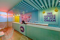 Moody neon ice cream parlor