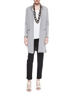 Hooded+Organic+Cotton+Long+Cardigan,+Jersey+Long+Tank+&+Slim+Slouchy+Ankle+Pants,+Petite+by+Eileen+Fisher+at+Neiman+Marcus.