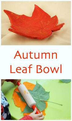 Autumn Leaf bowl made with air dry clay. This is a great fall time craft project…